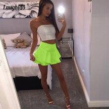 Laughido Pleated Bodycon Skirts Women Summer Ruffles High Waist Layered Frill Shorts Femmes Brief Slim Skirts Shorts For Women