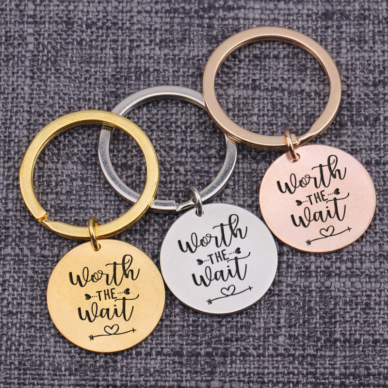 Trinket Key Tag Worth The Wait Lovers Couples Gift Long Distance Love Key Set Hot Sale Keychains Romantic Bag Charms Accessories(China)