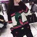 HZLLHX Динозавров пятизвездочный мульти красочный полосатый шить шерсть смешанное свитер S-XL женщины и мужчины 70% шерсть вязание топы