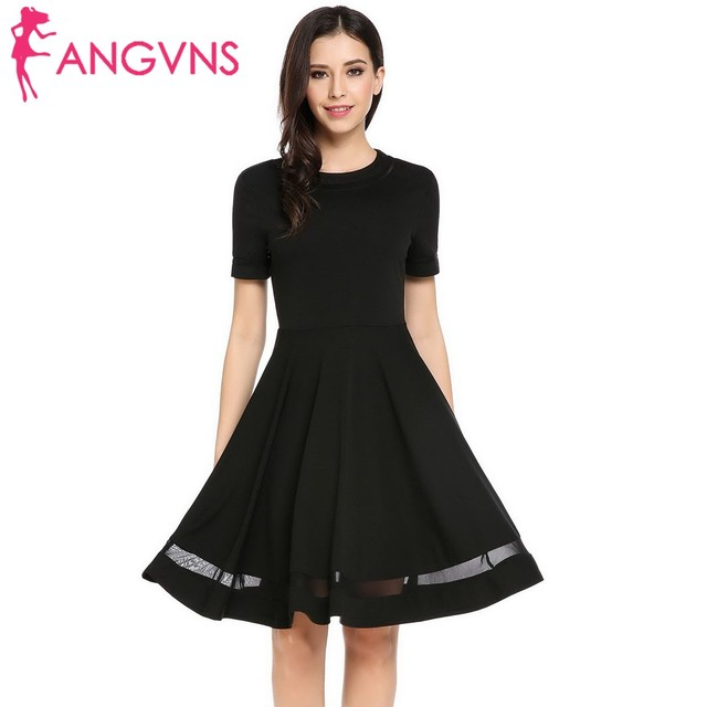 ANGVNS Women Casual O-Neck Short Sleeve Patchwork Back Zipper Pleated Dress  summer spring 2018 Robe de femme Vestido de mujer 6b79b4506