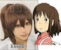 Anime Spirited Away Ogino Chihiro Brown Full Cosplay Hair Wigs Ponytail Costume Heat Resistant FREE SHIPPING