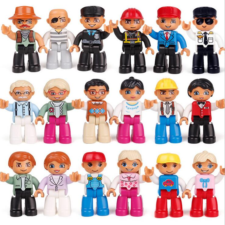 1pcs Big Size Building Blocks Compatible With duploe Family Worker Police Figure Toys For Kids Christmas Gift role family worker figure character large particle building blocks original accessory toys compatible with duplo diy kids gift