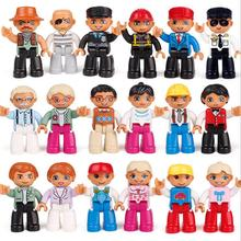 1pcs Big Size Building Blocks Compatible With duploe Family Worker Police Figure Toys For Kids Christmas Gift