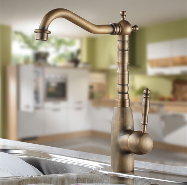 High Quality New Kitchen Faucet Antique Brass 360 Degree Water Mixer Sink Mixer Tap Wash Basin Faucet