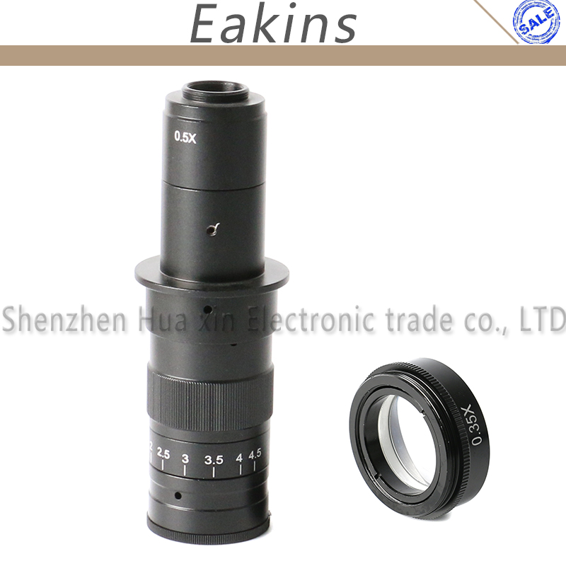 180X Industrial Microscope C-Mount Digital Camera Objective Lens 0.5X Adapter+0.35X Barlow Auxiliary L gso 1 25 3 element 2 5x barlow lens