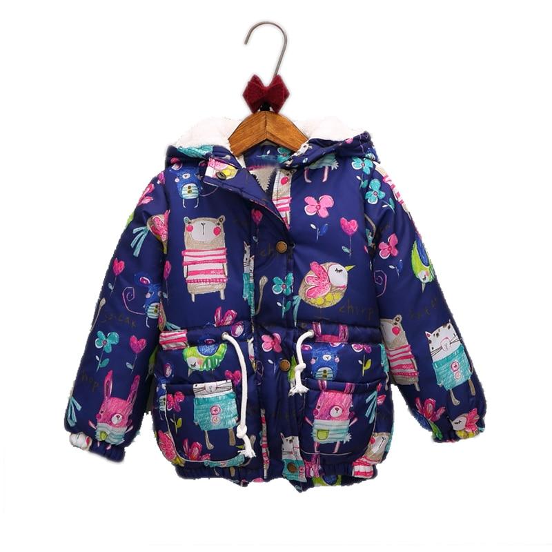 2017 new girl winter jackets graffiti plus velvet warm girl winter coat  kids parkas hooded cartoon animal print children jacket material girl new black animal print leggings msrp $22 5 dbfl