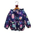 2017 nuevo invierno de la muchacha chaquetas de graffiti, además de terciopelo caliente chica abrigo de invierno parkas con capucha de la historieta animal print niños chaqueta