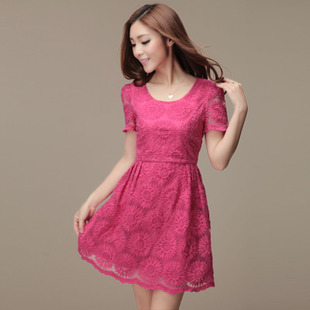 Women's summer national embroidery trend one-piece dress lace neon color short-sleeve dress
