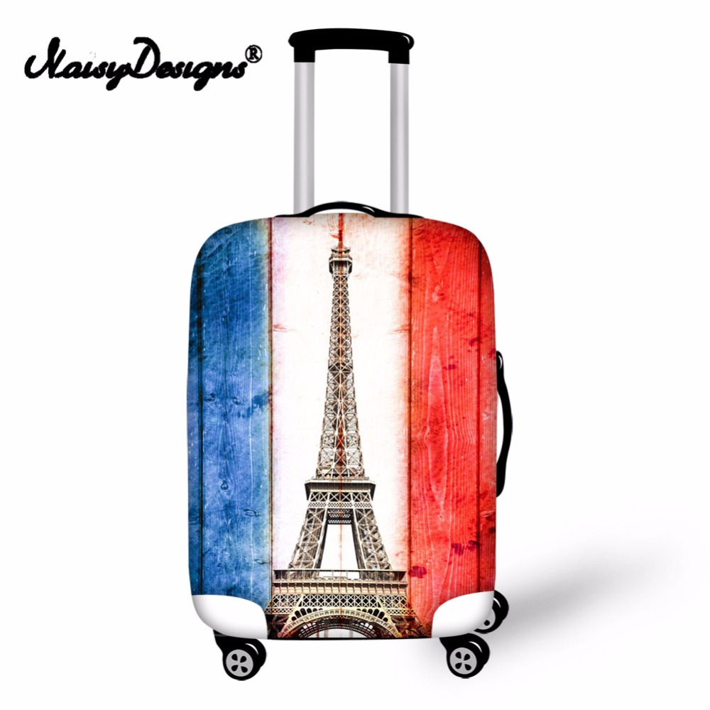 Noisydesigns With Eiffel Tower Blue And White Stripes Elastic Fashion New Protective Anti-scratch Cover Dust-proof Luggage Cover