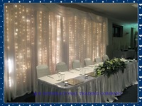 3m x 3m White Silk Wedding Backdrop with LED light Wedding Curtain Drape for Wedding & Party Decoration Free shipping