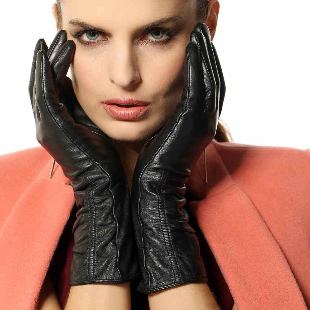 High quality womens leather gloves - High Quality Women Touchscreen Leather Gloves Warm Fashion Winter Genuine Goatskin Driving Glove Five Finger L106nc1