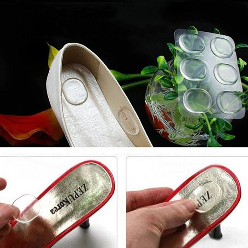 6pcs Insert Pad Cushion Foot Care Heel Grips Liner Silicone Gel Soft Adhesive Antiskid Shoe Insole Foot Supports R0039