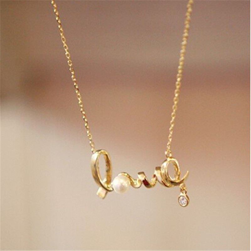 love letters imitation diamond pearl pendant necklace jewelry for womenchina mainland
