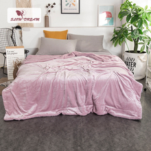 Купить с кэшбэком Slowdream Warm Thick Sherpa Throw Blue Blanket Weighted Flannel Fleece Blanket Queen King Adult Summer For Bed Or Couch 1PCS