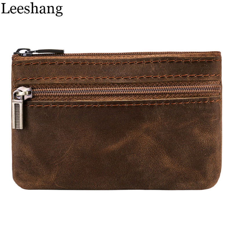 Leeshang 100% Vintage Wallet Men Purse Genuine Leather Small Wallets Men's Small Coin Purse Key Bag Brown Mini Zipper Money Bag j m d hot sale high quality classic brown real leather mini wallet purse key case men s hand bag cartera freeshipping 8023b
