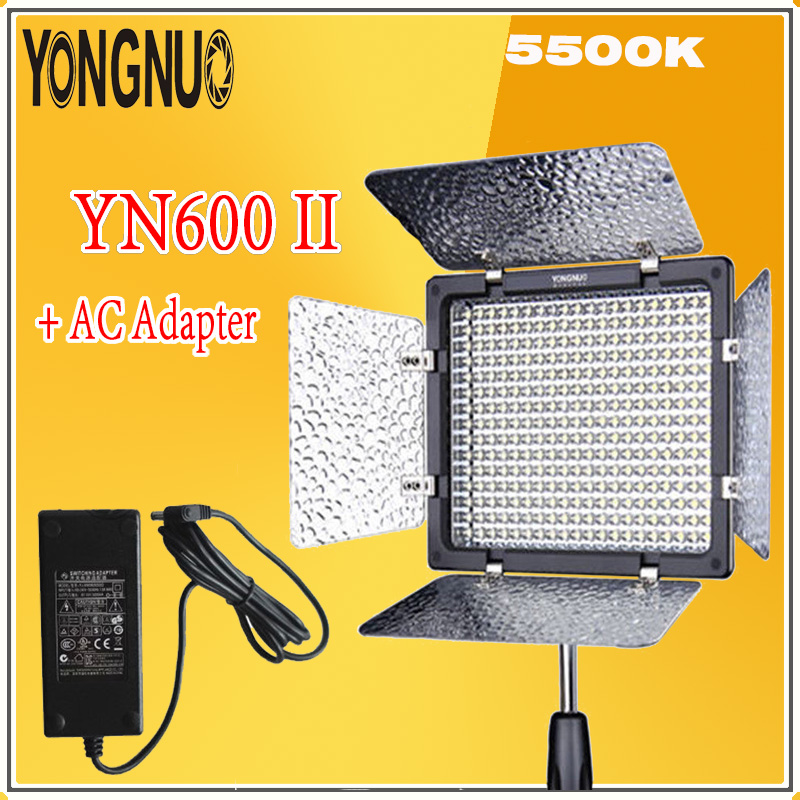 YONGNUO <font><b>YN600L</b></font> <font><b>II</b></font> 2.4Ghz Monochrome 5500K LED Video Light + AC Adapter Kit Set Support Remote Control by Phone App For Interview image