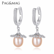 PAG&MAG Brand European Style Loose Flowers Shape Charm Natural Pearl S925 Clip Earrings for Women Fine Jewelry Gifts Wholesale
