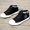 Venta caliente 2016 Para Mujer Zapatos Blancos Transpirable de Alta superior Zapatos de Mujer Gruesa Suela de aumento de la Altura Zapatos de Lona Ocasionales Al Aire Libre de Verano