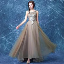 Fashion Long Evening Dress 2015 Sequined Off the Shoulder Robe De Soiree Sleeveless Organza Stain Vestido Festa KW1172