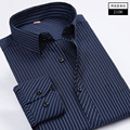 Big yards Newest Striped Shirt Men Brand Business Casual Long Sleeve Turn-down Collar Striped Men Dress Shirt Men Clothes  6XL