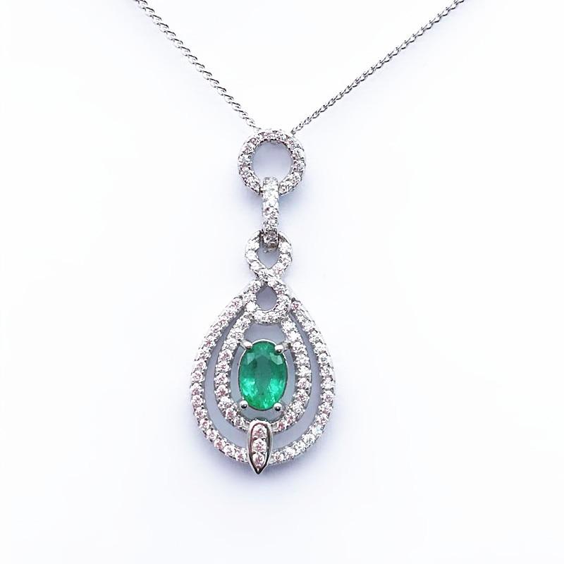 Edler Schmuck 925 Sterling Silber Natürliche Smaragd Anhänger Klassischen Feinen Schmuck Anpassbare Frauen Hochzeit Senden Halskette QualitäTswaren