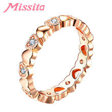 MISSITA Romantic Rose Gold Wedding Finger Ring with Heart to Heart CZ Rings For Women Brand Anniversary Gift anillos mujer jonni olson heart to heart with god