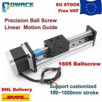 [EU Stock/Free VAT] 1605 Slide Stroke 100mm~600mm Linear Motion Guide Precision Ball Screw Z-Axis+Stepper Motor for CNC Router screw with linear guide hgr15 hpv6 linear module nema23 2 8a 56mm stepper motor same
