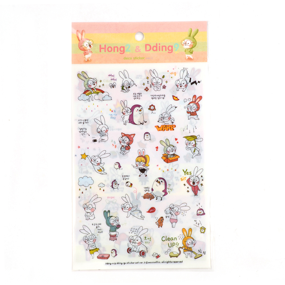 6 sheet Big glasses rabbit  notebook diary stationery transparent stickers