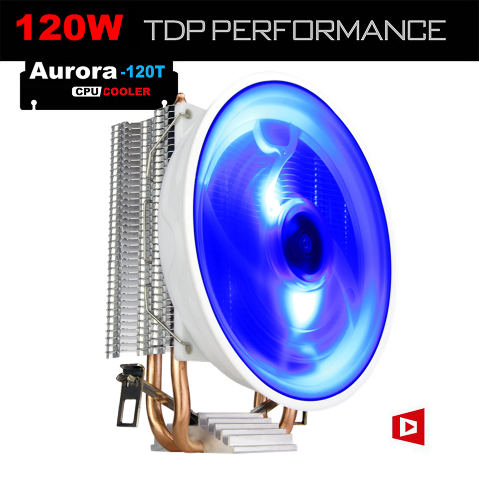 ALSEYE 120T 2 Heatpipes Processor Cooler TDP 120W Blue LED Fan CPU Cooler with Aluminum Heatsink  for LGA 1366/115#/775, AM2,3,4 computer cooler radiator with heatsink heatpipe cooling fan for hd6970 hd6950 grahics card vga cooler