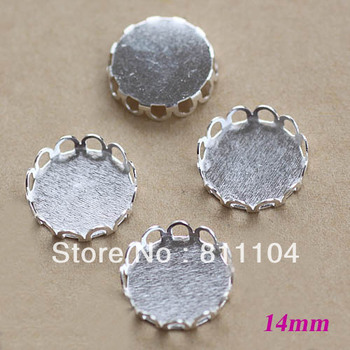 14mm Silver Plated Copper Blank Circle Round Lace Pendant Trays Bases Bezel DIY Cameo CABs Jewelry Findings Settings Wholesale