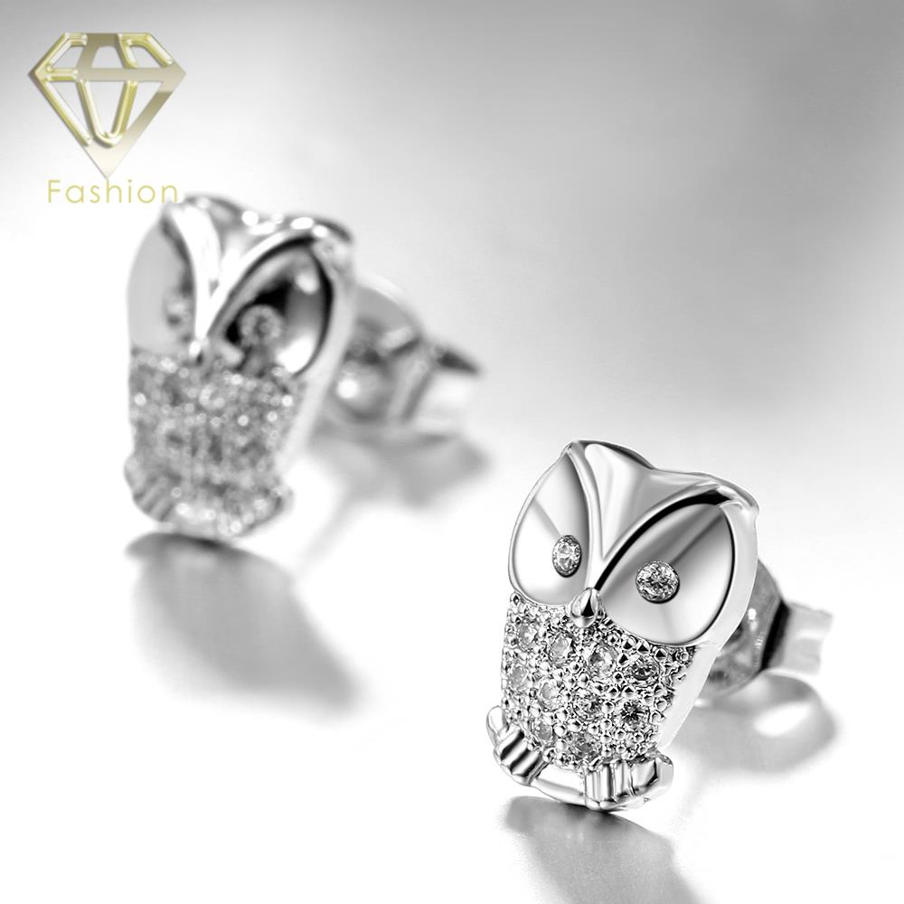 Unique Design Owl Earrings Studs White Gold Color Inlaid Crystals Stud For Women Fashion Jewelry Best Gift Whole In From