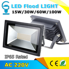 Waterproof IP65 LED Flood Light AC 220V Reflector Floodlight 15W 30W 60W 100W Warm/Cold white Spotlight Outdoor Wall Lighting
