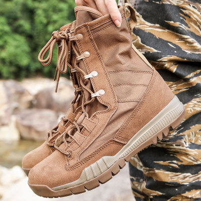 Leather Outdoor Hiking Shoes Men's Desert Ankle Boot Military Tactical Boots Men Combat Army Boots  Riding Working Shoes
