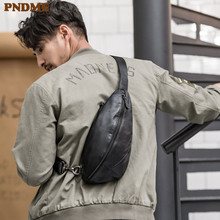PNDME casual simple high quality genuine leather men's crossbody bag chest bag fashion first layer cowhide black shoulder bags hot sell 2016 full genuine first layer leather bags casual bag designer lattice bags high quality man shoulder bag for men