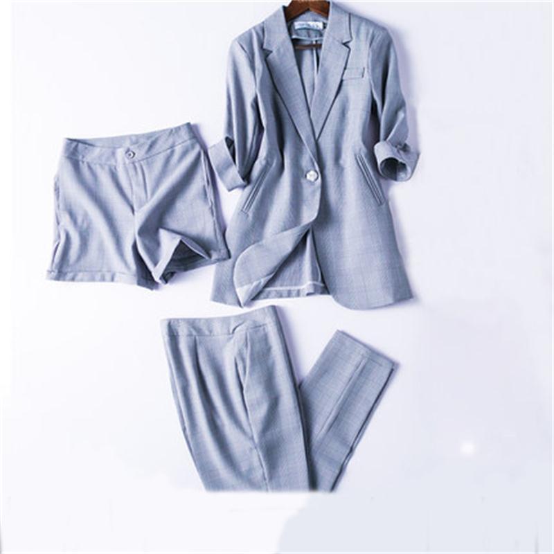 Fashion Plaid suits female New plaid Small suit suit women s casual shorts two piece business