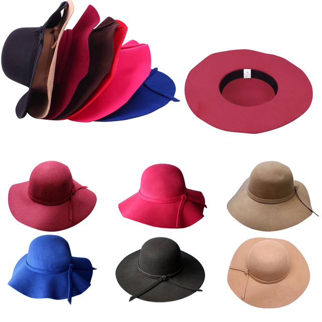 d4278437 New Wave Brim Wool-like Soft Felt Hats for Women Vintage Wide Brim Bowler  Fedora