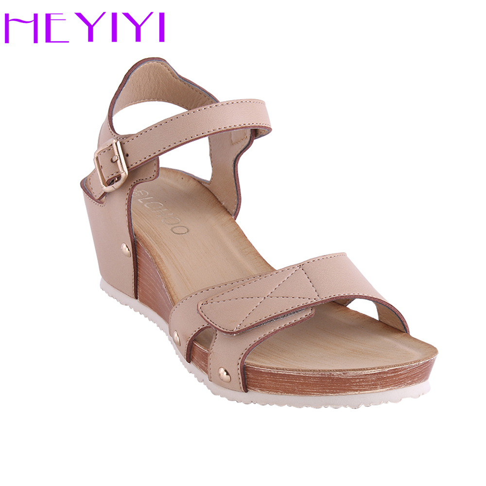 HEYIYI Shoes Women Sandals Platform Wedges Large Size Soft PU Leather Casual Lightweight Rivet Hook&loop Simple Rome Style Shoes phyanic 2017 summer women sandals platform wedges sandals hook