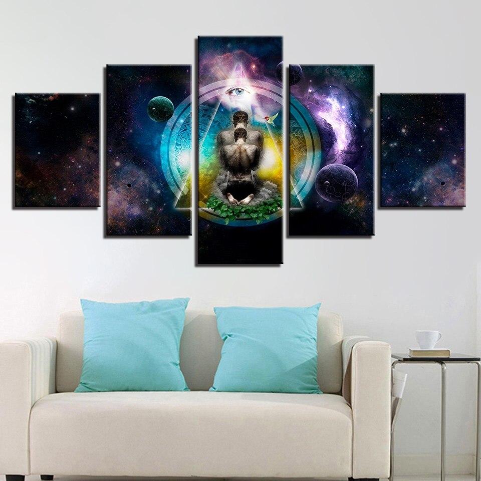 Leinwanddrucke Bilder Wandkunst Wohnzimmer Rahmen 5 Stück OM Yoga ...