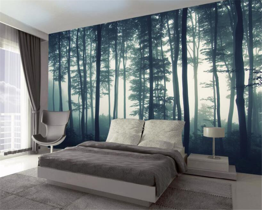 Beibehang Wallpaper 3D nature landscape forest tree morning fog mural TV background wall living room bedroom murals 3d wallpaper in Wallpapers from Home Improvement