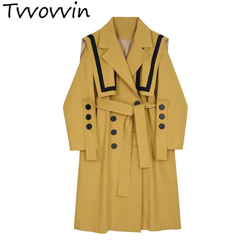Woman   Trench   Irregular Bandage Color Matching Female Overcoat Asymmetry Loose Casual Long   Trench   Coats 2019 New Fashion E921