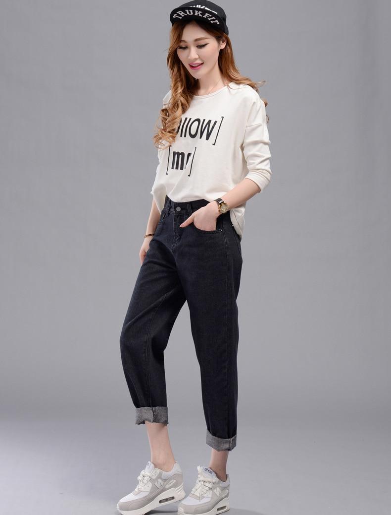 2018 neue frauen loch zerrissene designer jeans schwarze hose vintage weiblichen mittleren taille Baggy Harem knöchel-länge casual Hosen