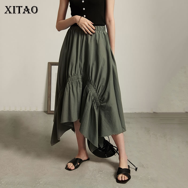 [XITAO] Women 2019 Sumer New Korea Fashion Casual Skirt Female Solid Color Asymmetrical Pleated Knee length Skirt ZQ1847