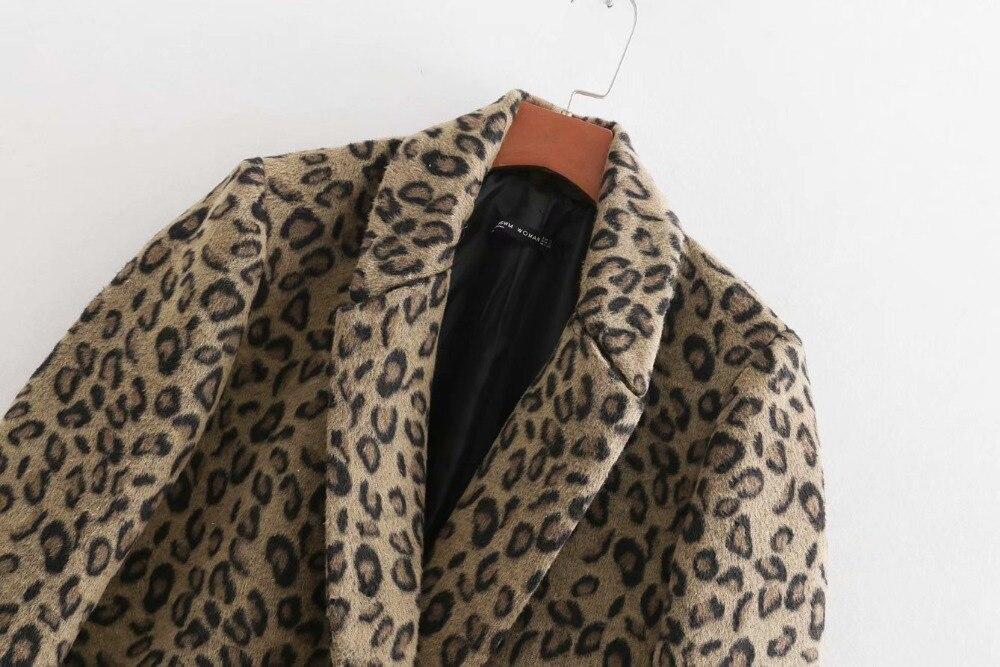 Leopard Décontracté Boutonnage Design Léopard Laine Classique Femmes hiver Za Automne 2018 Double Manteau 7OqZ66