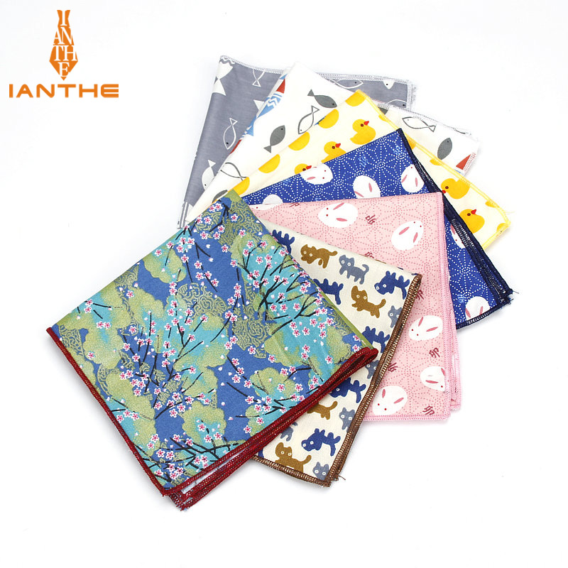 Brand New Men's Sunny Style Cotton Handkerchief Animal Duck Fish Cat Printed Pocket Square Hankies Towel Casual Hanky 25*25cm