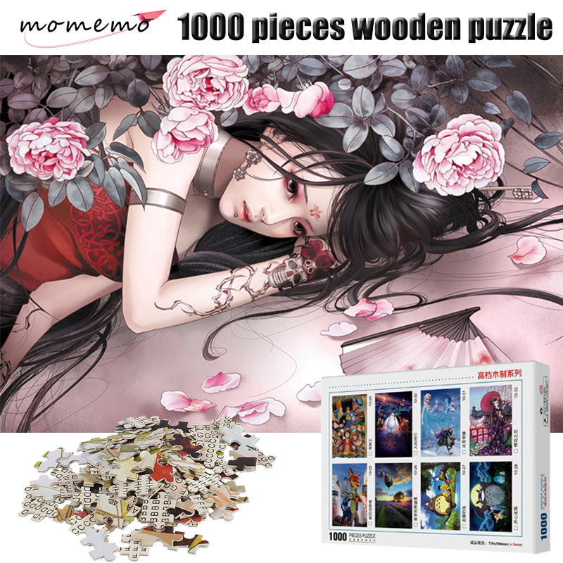 MOMEMO Tattoo Girl Wooden Puzzle 1000 Pieces Adults Puzzle 1000 Pieces Cartoon Puzzles Gift For Children Decompression Toys