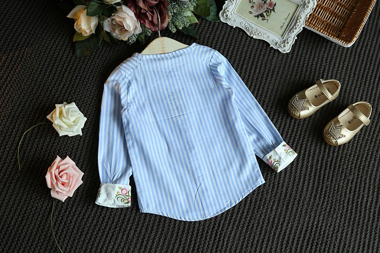 Children Girls Set Sets two pieces Kids Spring Autumn Winter tshirt + Jeans Skirt Striped sky Blue Size for 3,4,5,6,7 years old (9)