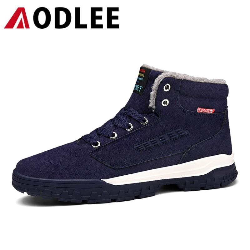 AODLEE Plus Taille 39-48 Hommes Bottes D'hiver De Fourrure En Peluche Chaud Neige Bottes Hommes Chaussures Hommes Chaussures de Travail Occasionnel mode Cheville Bottes pour Hommes