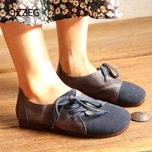 Frauen flache Schuhe aus echtem Leder Damen Slip auf Loafers Freizeitschuhe für Frauen runde Zehe weichen Wohnungen Vintage Schnürschuhe