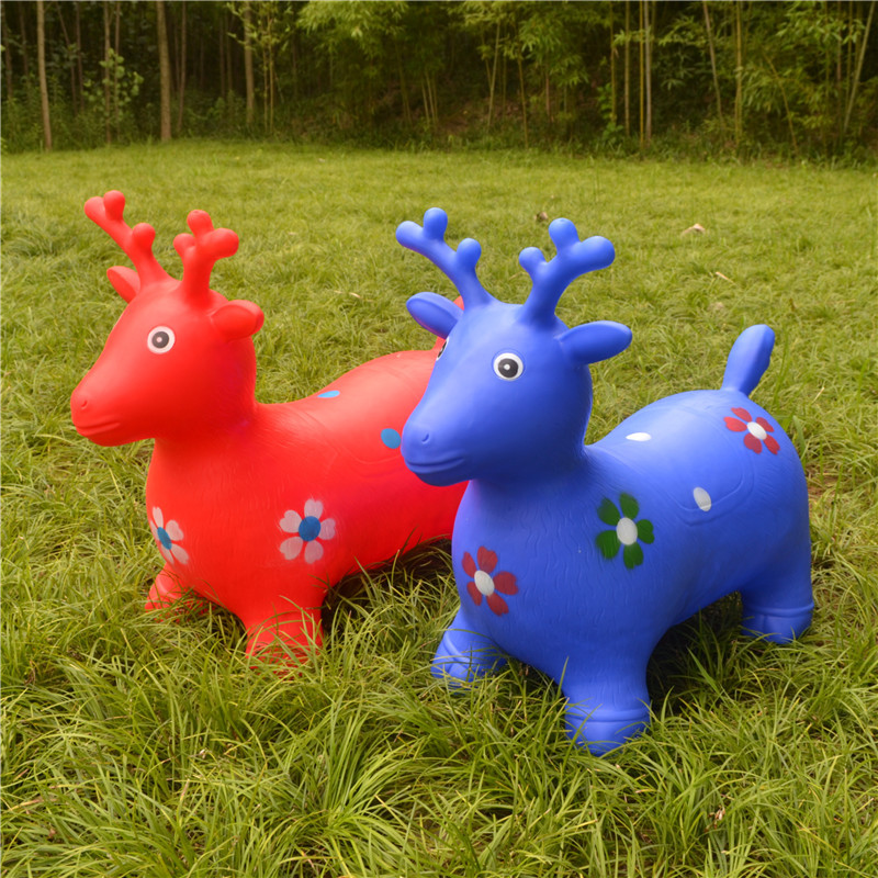 Outdoor Toys Children\'s Thicken Inflatable Animal Bouncy Horse Toys Music Jumping Vault Toy Kids Rubber Deer Gift Toys