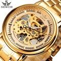 SEWOR Full Stainless Steel Gold Watch Men Designer Mens Watches Top Brand Luxury Skeleton Mechanical Watch Clock Male Relogio